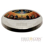 Cook Islands GIOVANNI IN LATERANO MOSAIC series WONDERFUL MOSAICS $5 Silver coin 2014 Proof Convex shaped 1 oz
