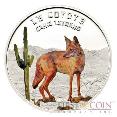 Niger COYOTE Canis Latrans series Predator Hunters 1000 Francs Silver coin Proof 2013