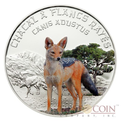"""Niger Side Striped Jackal """"Predator Hunters"""" series Silver coin 1000 Francs Colored 2012 Proof"""