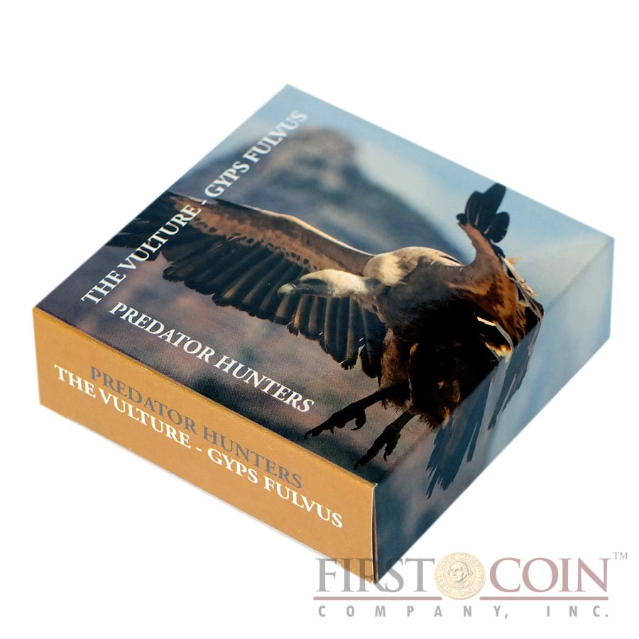 Tanzania VULTURE GYPS FULVUS series PREDATOR HUNTERS Silver coin 1000 Shillings Colored 2014 Proof