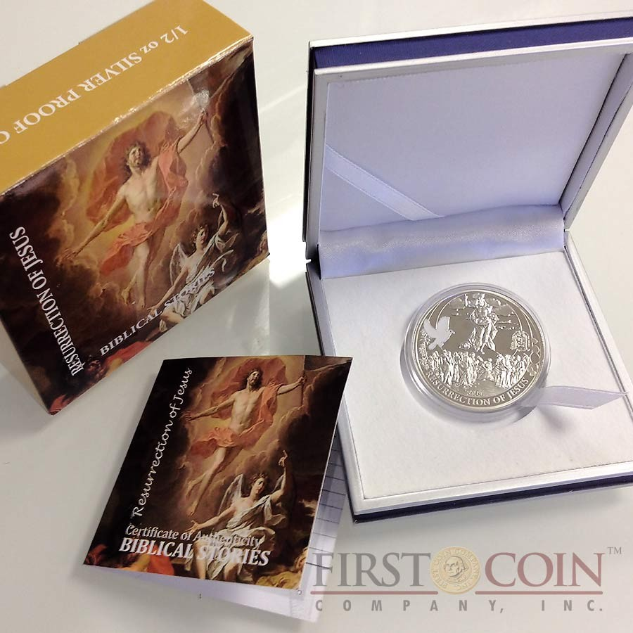 Palau RESURRECTION of JESUS series BIBLICAL STORIES Silver coin $2 Partly enameled 2014 Proof
