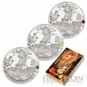 Palau RESURRECTION of JESUS series BIBLICAL STORIES Three Silver coin set  $6 Partly enameled 2014 Proof ~1.5 oz