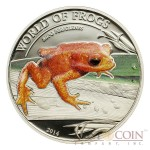 """Palau Golden Frog Phyllobates terribilis """"World of Frogs"""" series Silver coin $2 Colored 2014 Proof"""