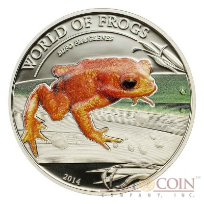 "Palau Golden Frog Phyllobates terribilis ""World of Frogs"" series Silver coin $2 Colored 2014 Proof"