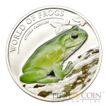 Palau LITORIA CAERULEA series WORLD OF FROGS Silver coin $2 Colored 2013 Proof
