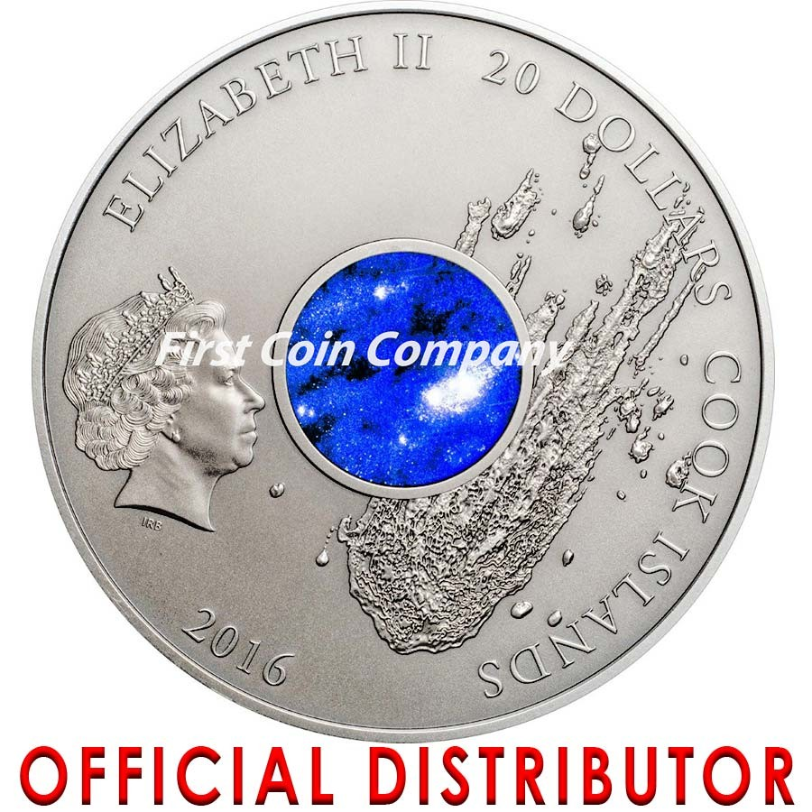 Cook Islands METEORITE CAMPO DEL CIELO 1576 ARGENTINA Crater Concave Shape Silver Coin $20 Real Meteorite piece Ultra Deep Minting 2016 Antique finish 3 oz
