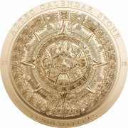 Cook Islands AZTEC CALENDAR STONE series ARCHEOLOGY and SYMBOLISM $20 Silver Coin Antique finish 2018 Ultra High Relief Smartminting Gold plated 3 oz