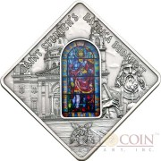 Palau ST. STEPHEN'S BASILICA BUDAPEST $10 Series SACRED ART Silver coin 2014 Antique finish Stained Glass 1.6 oz
