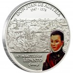 Cook Islands DON JUAN DE AUSTRIA - BATTLE OF LEPANTO series GREAT COMMANDERS & BATTLES Silver coin $5 Partly colored 2010
