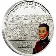 Cook Islands DON JUAN DE AUSTRIA - BATTLE OF LEPANTO series GREAT COMMANDERS & BATTLES Silver coin $5 Partly colored 2010