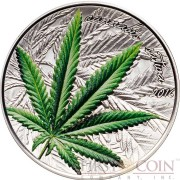 BENIN CANNABIS SATIVA LEAF Concave shape Silver coin 1000 Francs High 2016 Relief Proof 1 oz