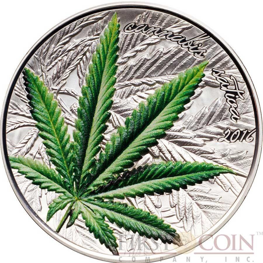 Benin Cannabis Sativa Leaf Concave Shape Silver Coin 1000