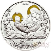 Palau BIRTH OF JESUS series BIBLICAL STORIES Silver coin $2 Partly enameled 2012 Proof