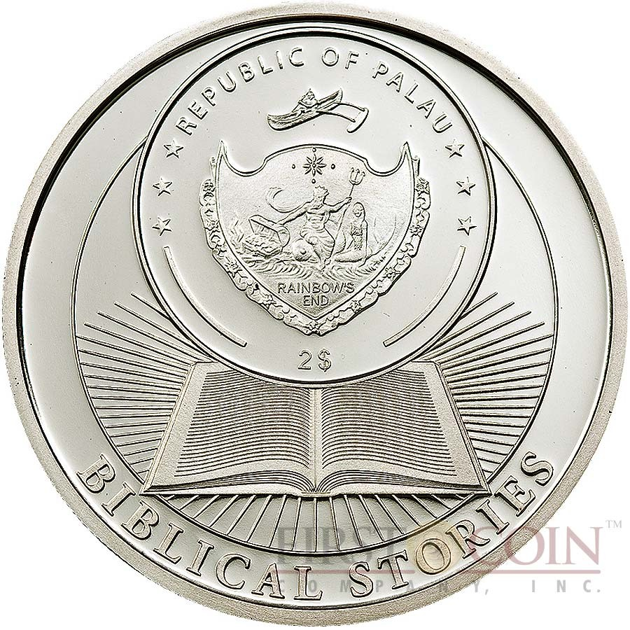 Palau CAIN & ABEL series BIBLICAL STORIES Silver coin $2 Partly enameled 2011 Proof