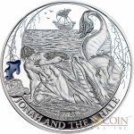 Palau JONAH AND THE WHALE series BIBLICAL STORIES $2 Silver coin Partly enameled Proof 2015