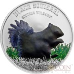 Cook Islands BLACK SQUIRREL series BLACK BEAUTIES $5 Silver Coin 2013