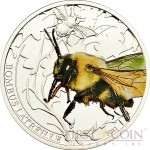 Palau BOMBUS $2 series WORLD OF INSECTS Silver coin Partly colored Proof 2011