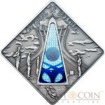 Palau BRASILIA CATHEDRAL BRAZIL $10 Series SACRED ART Silver coin 2012 Antique finish Stained Glass 1.6 oz