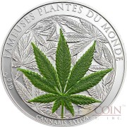 Benin CANNABIS SATIVA series FAMOUS PLANTS Silver coin Marijuana Scented 1000 Francs 2010 Proof 1 oz