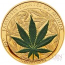 Benin CANNABIS SATIVA series FAMOUS PLANTS 100 Francs Marijuana Scented Copper-Nickel Silver plated coin 2010 Proof