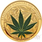 Benin CANNABIS SATIVA series FAMOUS PLANTS 100 Francs Marijuana Scented Copper-Nickel Silver Gold plated coin 2010 Proof