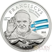 Cook Islands POPE FRANCISCUS 1ST ANNIVERSARY series RELIGIOUS PEOPLE Silver coin $2 Blue enameling Proof 2014
