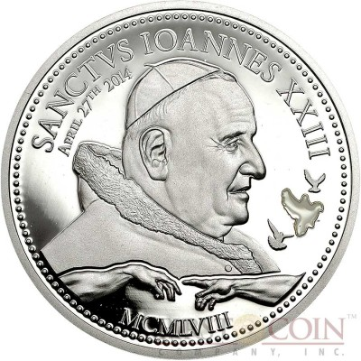 Cook Islands CANONIZATION OF JOHANNES XXIII series RELIGIOUS PEOPLE Silver coin $2 White enameling Proof 2014