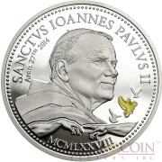 Cook Islands CANONIZATION OF POPE JOHN PAUL II series RELIGIOUS PEOPLE Silver coin $2 Yellow enameling Proof 2014
