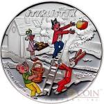Cook Islands CTYRLISTEK FRIENDS series CTYRLISTEK CARTOONS $1 Silver Copper-Nickel Colored coin 2012 Proof