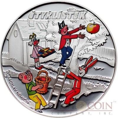 Cook Islands CTYRLISTEK FRIENDS series CTYRLISTEK CARTOONS $1 Silver Copper-Nickel Colored coin 2012 Proof