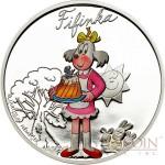 Cook Islands CTYRLISTEK FIFINKA $1 series CTYRLISTEK CARTOONS  Copper-Nickel Silver plated Colored coin 2013 Proof