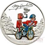 Cook Islands CTYRLISTEK MYSPULIN $1 series CTYRLISTEK CARTOONS  Copper-Nickel Silver plated Colored coin 2013 Proof