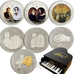 Andorra LIFE OF CHOPIN COMPOSER Eight Silver Coin Set 80 Diners 2009 Gold plated 6.4 oz