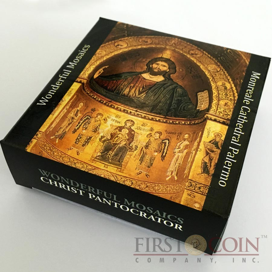 Cook Islands CHRIST PANTOCRATOR Monreale Cathedral Palermo series WONDERFUL MOSAICS $5 Silver coin 2016 Proof Convex shaped 1 oz