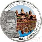 Cook Islands CITY OF TEMPLES ANGKOR WAT series MAGICAL & MYSTICAL Places $5 Silver coin Sandstone Insert Colored Proof  2015
