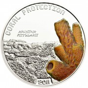 Tuvalu APLYSINA FISTULARIS series CORAL PROTECTION $1 Silver Coin Partly colored 2011 Proof