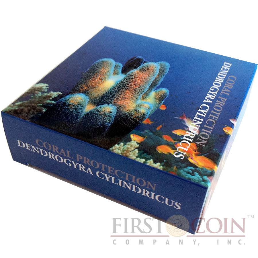 Tuvalu DENDROGYRA CYLINDRICUS series CORAL PROTECTION $1 Silver Coin Partly colored 2011 Proof