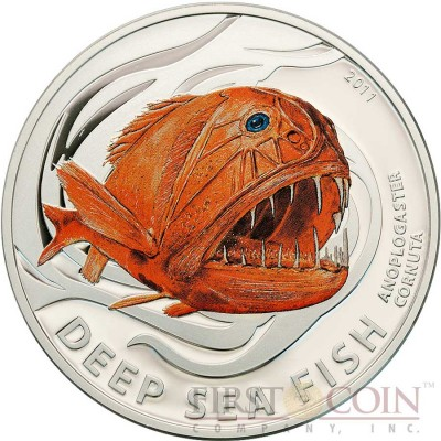 Pitcairn Islands ANOPLOGASTER CORNUTA series DEEP SEA FISH $2 Partly Colored Silver coin 2011 Proof