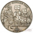 Cook Islands 1th Crusade: Godfrey of Bouillon $5 History of the Crusades Series Silver coin Antique finish 2009
