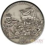 Cook Islands 2th Crusade: Louis VII of France $5 History of the Crusades Series Silver coin Antique finish 2009