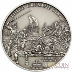 Cook Islands 3th Crusade: Richard the Lionhead $5 History of the Crusades Series Silver coin Antique finish 2010