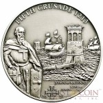 Cook Islands 5th Crusade: John of Brienne $5 History of the Crusades Series Silver coin Antique finish 2011