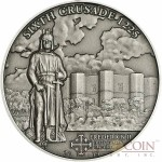 Cook Islands 6th Crusade: Frederick II $5 History of the Crusades Series Silver coin Antique finish 2014