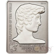 Cook Islands MICHELANGELO'S DAVID series Sculptures of the World $5 Silver Coin Antique finish Marble sculpture insert 2010