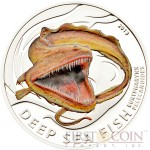 Pitcairn Islands EURYPHARYNX PELECANOIDES series DEEP SEA FISH $2 Partly Colored Silver coin 2013 Proof