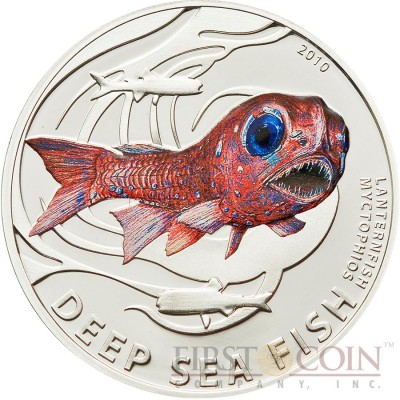 Pitcairn Islands LANTERNFISH series DEEP SEA FISH $2 Partly Colored Silver coin 2010 Proof