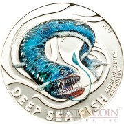 Pitcairn Islands MELANOSTOMIAS BISERIATUS series DEEP SEA FISH $2 Colored Silver coin 2011 Proof
