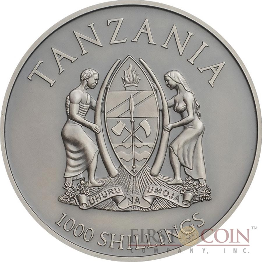 Tanzania AFRICAN ELEPHANT series HIGH RELIEF ANIMALS 1000 Shillings Silver Coin 2016 Smartminting Antique and Proof finish High Relief 1 oz