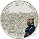 Cook Islands G.MEADE - GETTYSBURG series GREAT COMMANDERS & BATTLES Silver coin $5 Partly colored 2009