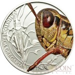 Palau GRASSHOPPER $2 series WORLD OF INSECTS Silver coin Wet-coloring Proof 2010